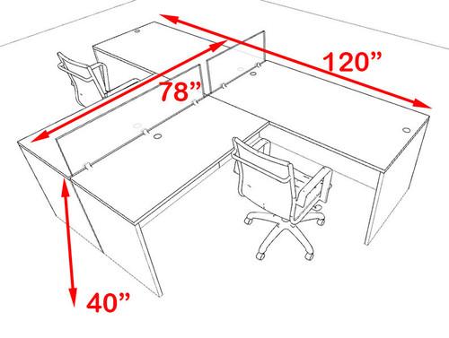 Two Person Blue Divider Office Workstation Desk Set, #OT-SUL-SPB41