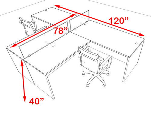 Two Person Blue Divider Office Workstation Desk Set, #OT-SUL-SPB42