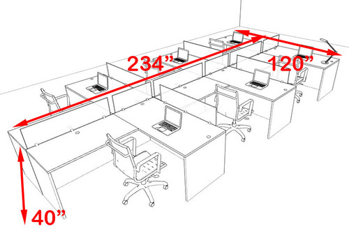 Six Person Blue Divider Office Workstation Desk Set, #OT-SUL-SPB52