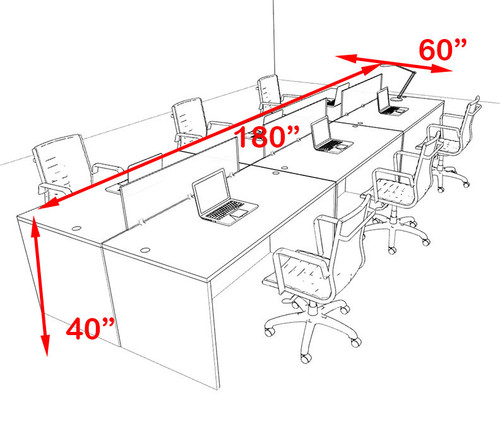 Six Person Orange Divider Office Workstation Desk Set, #OT-SUL-FPO12