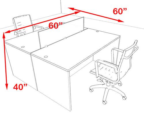 Two Person Orange Divider Office Workstation Desk Set, #OT-SUL-FPO3
