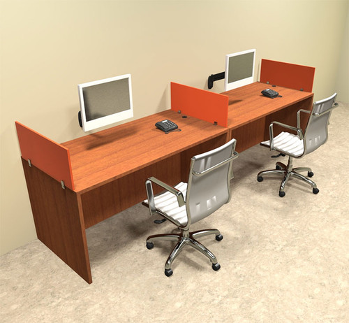 Two Person Orange Divider Office Workstation Desk Set, #OT-SUL-SPO2