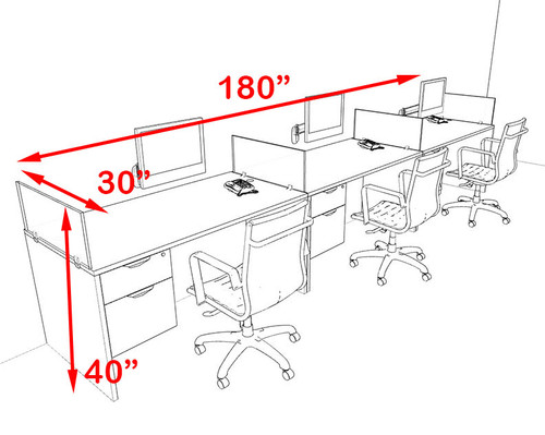 Three Person Orange Divider Office Workstation Desk Set, #OT-SUL-SPO27