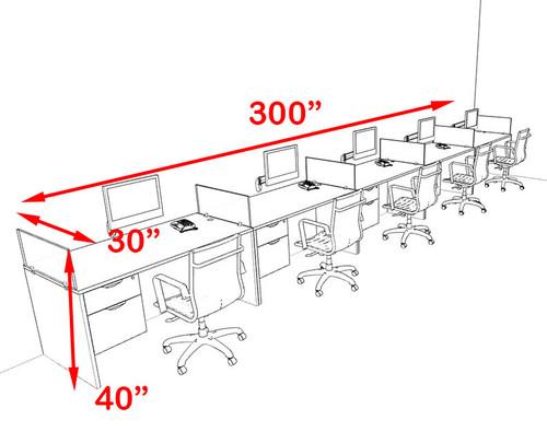 Five Person Orange Divider Office Workstation Desk Set, #OT-SUL-SPO33