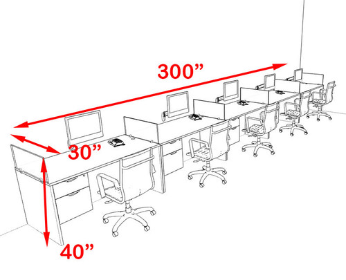 Five Person Orange Divider Office Workstation Desk Set, #OT-SUL-SPO34