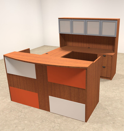 5pc U Shaped Modern Acrylic Panel Office Reception Desk, #OT-SUL-RM41