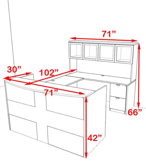 5pc U Shaped Modern Acrylic Panel Office Reception Desk, #OT-SUL-RO32
