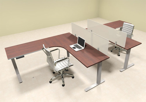 Two Persons L Shaped Power Adjustable Divider Workstation, #OF-CON-HP27