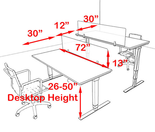 Two Persons Modern Power Adjustable Divider Workstation, #OF-CON-HP3