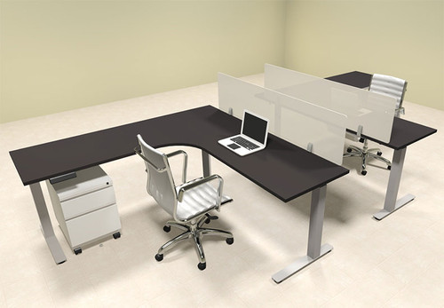 Two Persons L Shaped Power Adjustable Divider Workstation, #OF-CON-HP36