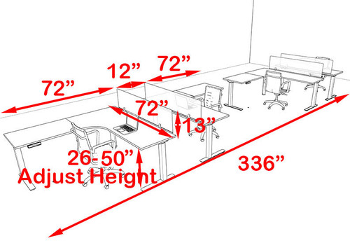 Four Persons L Shaped Power Adjustable Divider Workstation, #OF-CON-HP37