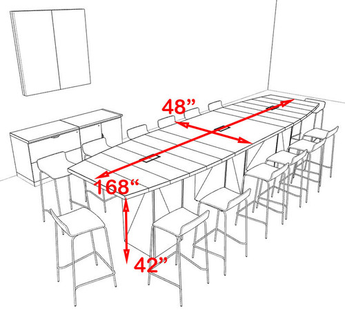 Boat Shape Counter Height 14' Feet Conference Table, #OF-CON-CT16