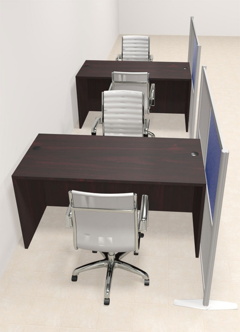 Two Person Workstation w/Acrylic Aluminum Privacy Panel, #OT-SUL-HPB19