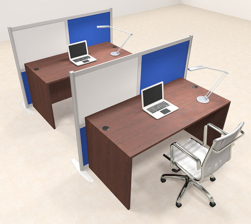 Two Person Workstation w/Acrylic Aluminum Privacy Panel, #OT-SUL-HPB30