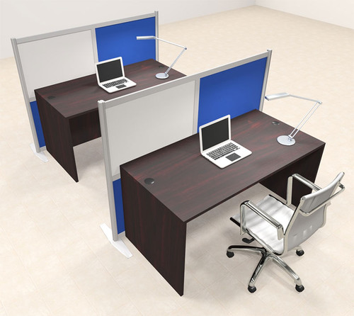 Two Person Workstation w/Acrylic Aluminum Privacy Panel, #OT-SUL-HPB31