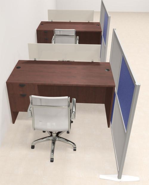 Two Person Workstation w/Acrylic Aluminum Privacy Panel, #OT-SUL-HPB42
