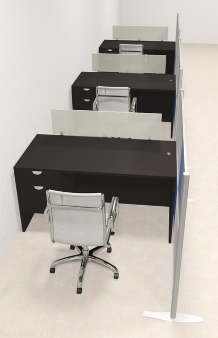 Three Person Workstation w/Acrylic Aluminum Privacy Panel, #OT-SUL-HPB48