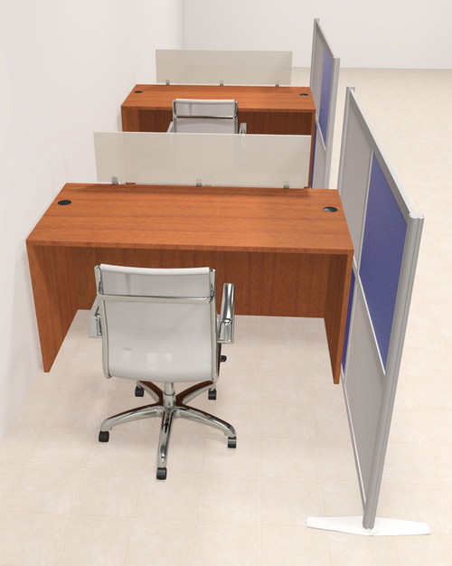 Two Person Workstation w/Acrylic Aluminum Privacy Panel, #OT-SUL-HPB5