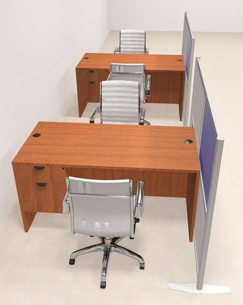 Two Person Workstation w/Acrylic Aluminum Privacy Panel, #OT-SUL-HPB53