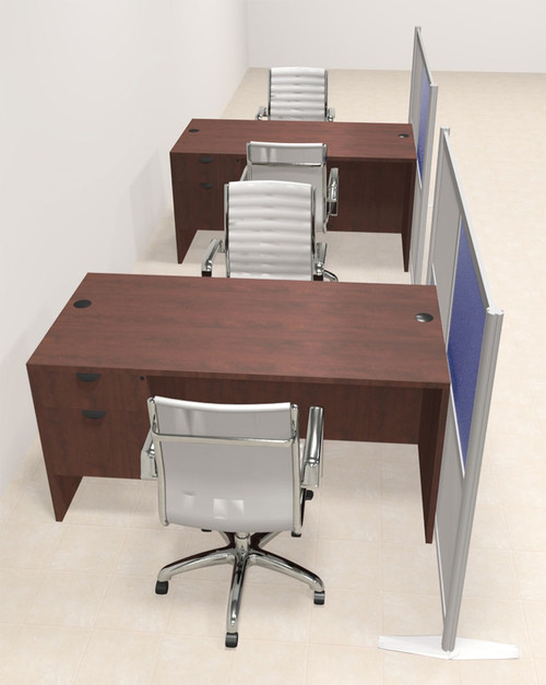 Two Person Workstation w/Acrylic Aluminum Privacy Panel, #OT-SUL-HPB54
