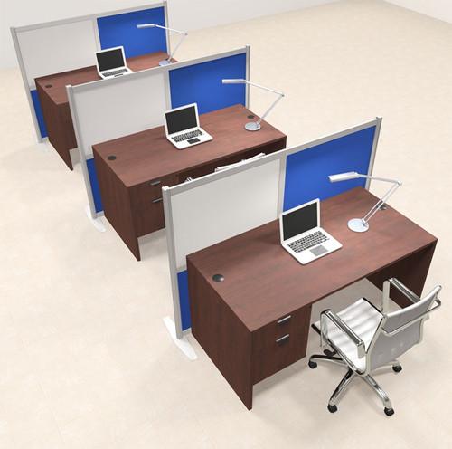 Three Person Workstation w/Acrylic Aluminum Privacy Panel, #OT-SUL-HPB70