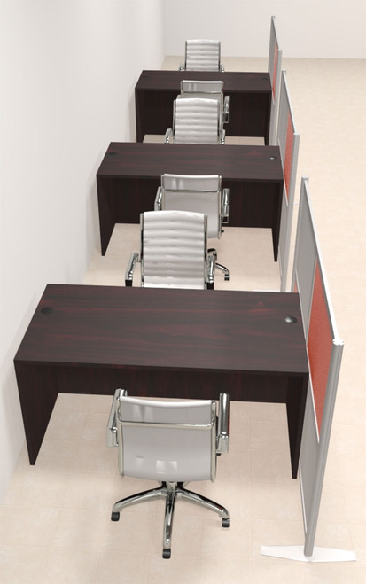 Three Person Workstation w/Acrylic Aluminum Privacy Panel, #OT-SUL-HPO95