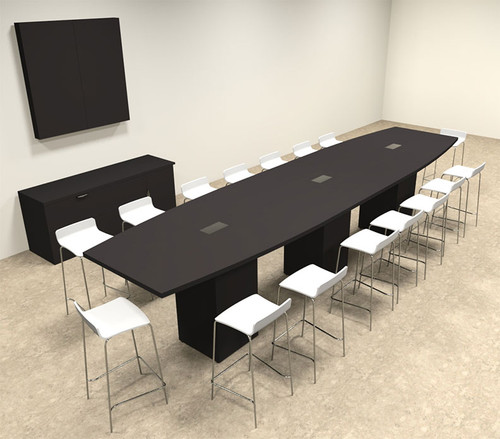 Boat Shape Counter Height 16' Feet Conference Table, #OF-CON-CT24