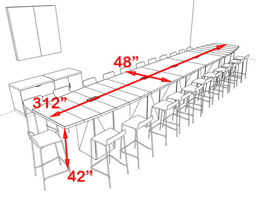 Boat Shape Counter Height 24' Feet Conference Table, #OF-CON-CT47