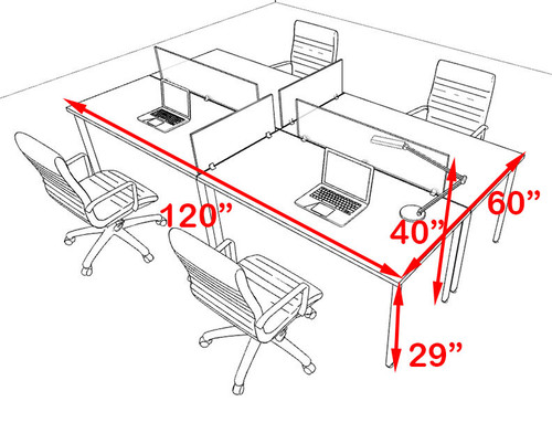 Four Persons Modern Acrylic Divider Workstation, #MT-FIV-FP7