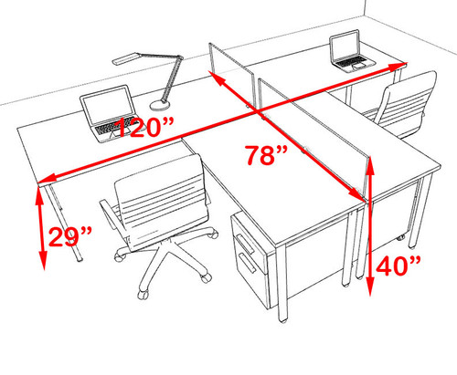 Two Persons L Shaped Modern Acrylic Divider Workstation, #MT-FIV-SP84