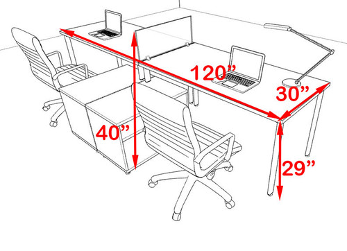 Two Persons Modern Acrylic Divider Workstation, #MT-FIV-SP87