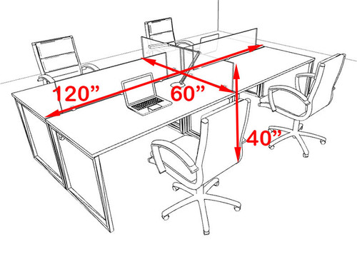 Four Person Modern Acrylic Divider Office Workstation, #AL-OPN-FP11