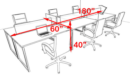 Six Person Modern Acrylic Divider Office Workstation, #AL-OPN-FP14
