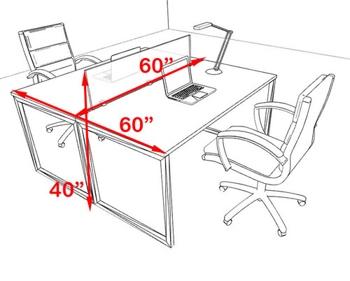 Two Person Modern Acrylic Divider Office Workstation, #AL-OPN-FP3