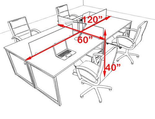 Four Person Modern Acrylic Divider Office Workstation, #AL-OPN-FP30