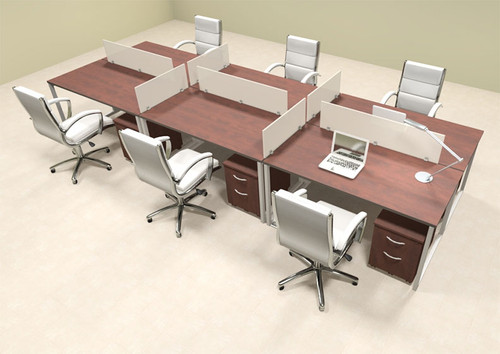 Six Person Modern Acrylic Divider Office Workstation, #AL-OPN-FP34