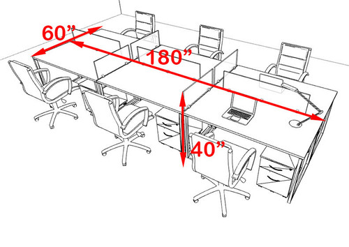 Six Person Modern Acrylic Divider Office Workstation, #AL-OPN-FP36