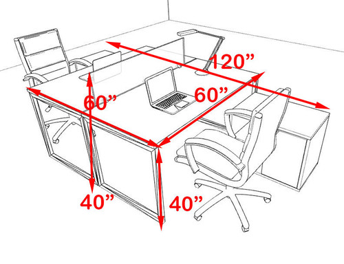 Two Person Modern Acrylic Divider Office Workstation, #AL-OPN-FP39