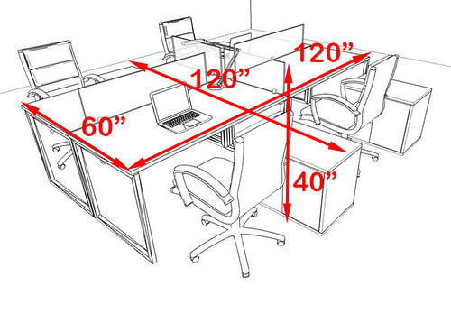 Four Person Modern Acrylic Divider Office Workstation, #AL-OPN-FP44