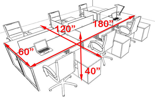 Six Person Modern Acrylic Divider Office Workstation, #AL-OPN-FP49