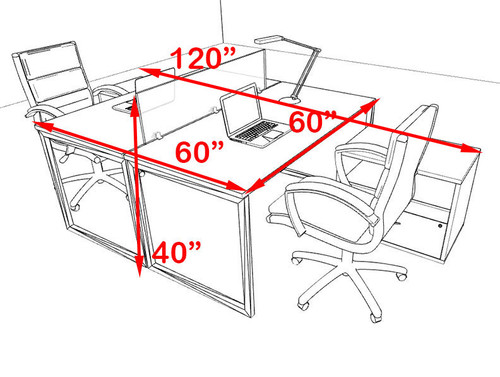 Two Person Modern Acrylic Divider Office Workstation, #AL-OPN-FP59