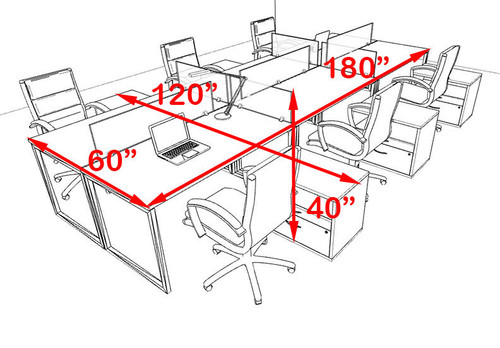 Six Person Modern Acrylic Divider Office Workstation, #AL-OPN-FP70
