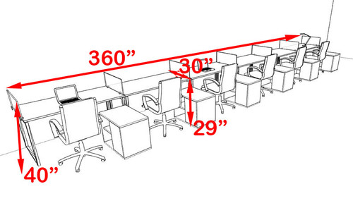 Six Person Modern Acrylic Divider Office Workstation, #AL-OPN-SP106