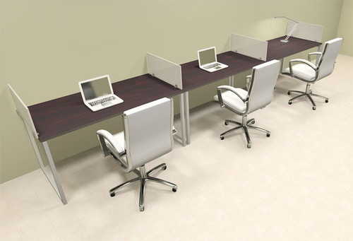 There Person Modern Acrylic Divider Office Workstation, #AL-OPN-SP23