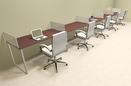 Five Person Modern Acrylic Divider Office Workstation, #AL-OPN-SP40