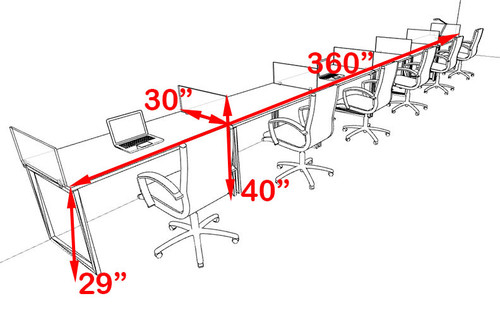 Six Person Modern Acrylic Divider Office Workstation, #AL-OPN-SP45