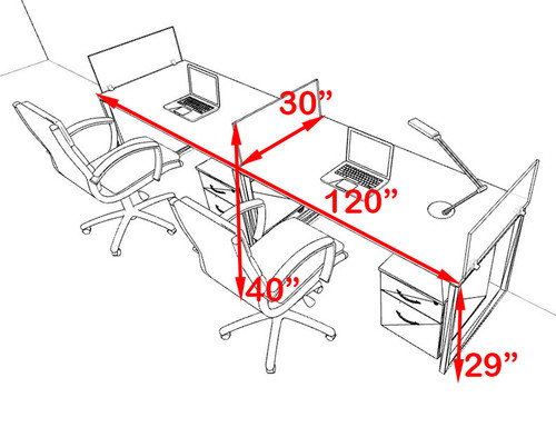 Two Person Modern Acrylic Divider Office Workstation, #AL-OPN-SP50