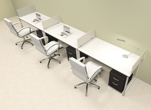 Three Person Modern Acrylic Divider Office Workstation, #AL-OPN-SP55
