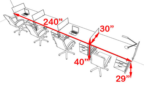 Four Person Modern Acrylic Divider Office Workstation, #AL-OPN-SP62