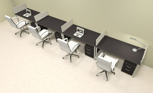 Four Person Modern Acrylic Divider Office Workstation, #AL-OPN-SP66